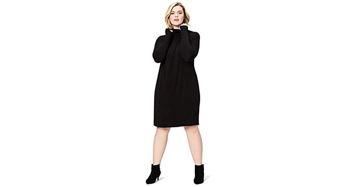 Lyst - Daily Ritual Plus Size Long-sleeve Turtleneck Dress in Black