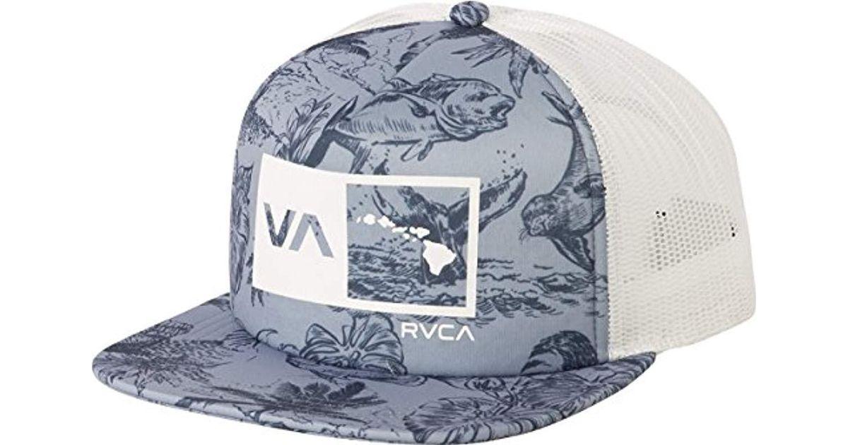 67f2a723 ... clearance lyst rvca islands balance box trucker hat in blue for men  1b23b efec5