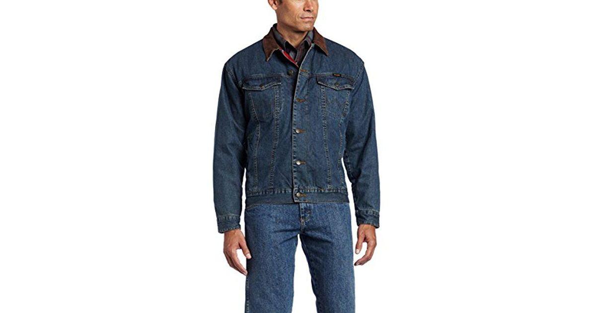 195910f43a Lyst - Wrangler Rustic Blanket Lined Denim Jacket in Blue for Men