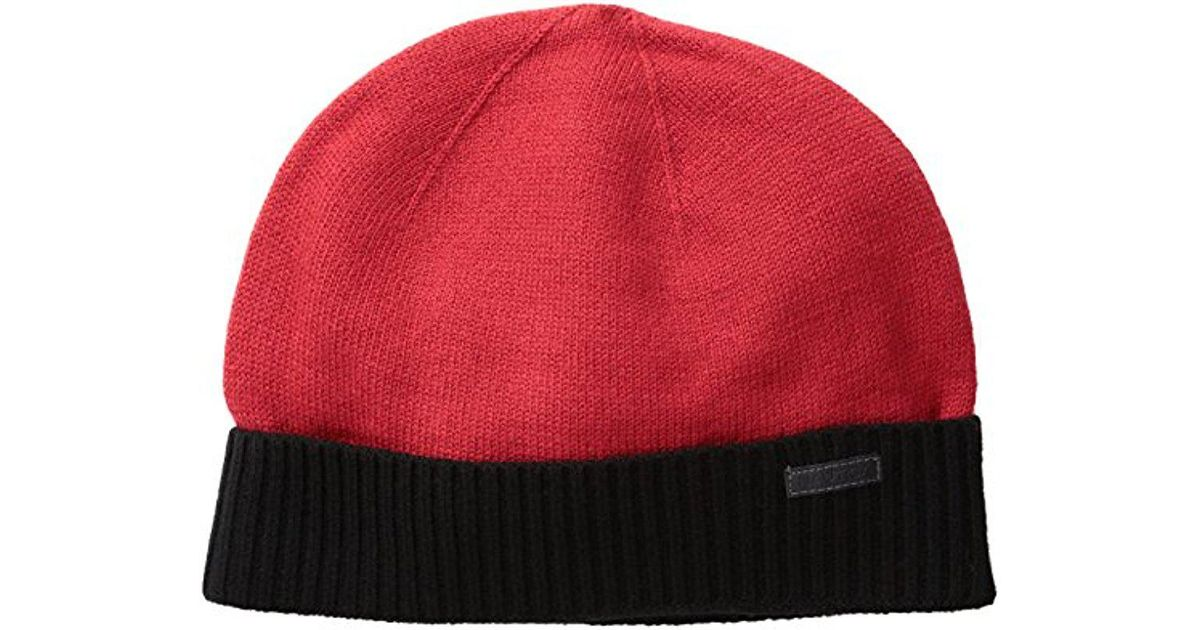 Lyst - Nautica Merino Wool Beanie Hat in Red for Men 6ee23f12bd3