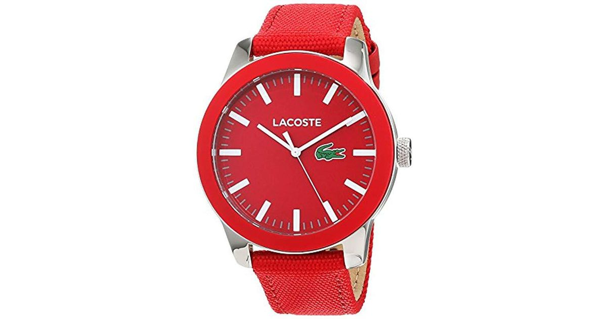 a358460d6c86 Reloj Análogo clásico para Hombre de Cuarzo con Correa en Tela 2010920  Lacoste de hombre de color Rojo - Lyst