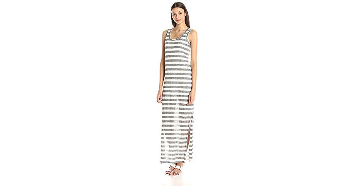 d9eda9c35c1 Lyst - Michael Stars Linen Knit Striped Maxi Dress in Gray