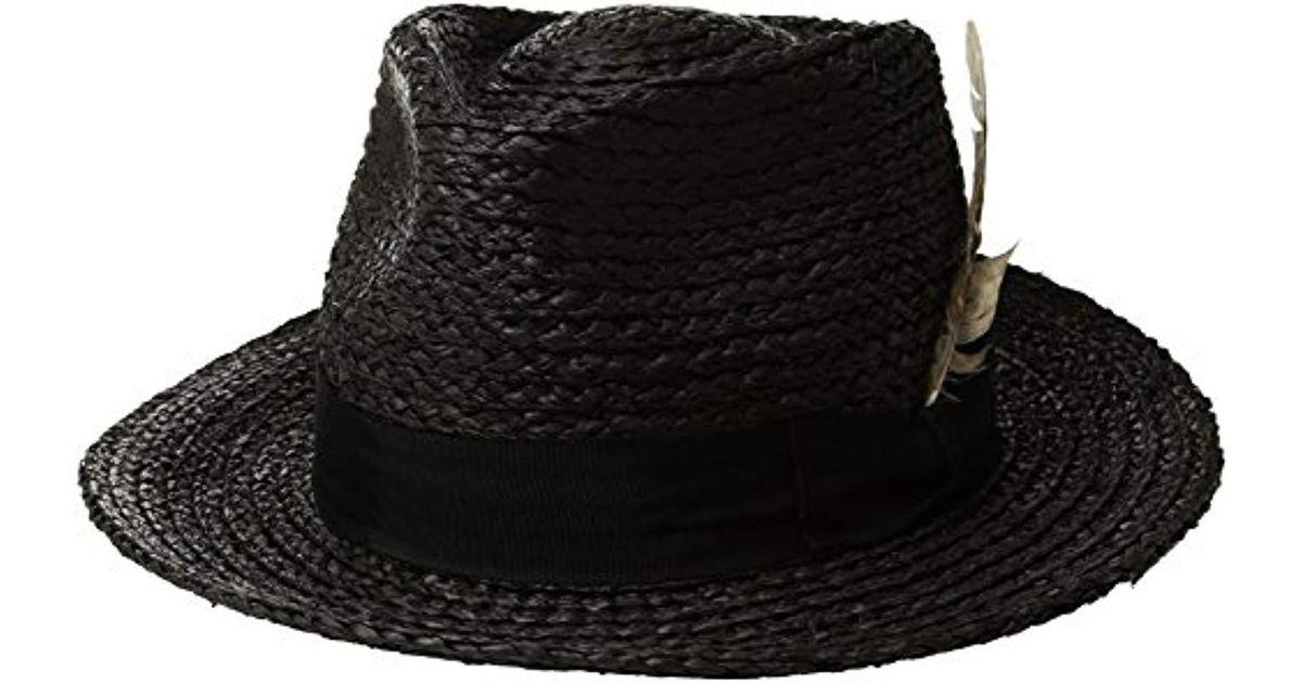 1f95a68558426 Lyst - Brixton Crosby Medium Brim Straw Fedora Hat in Black for Men