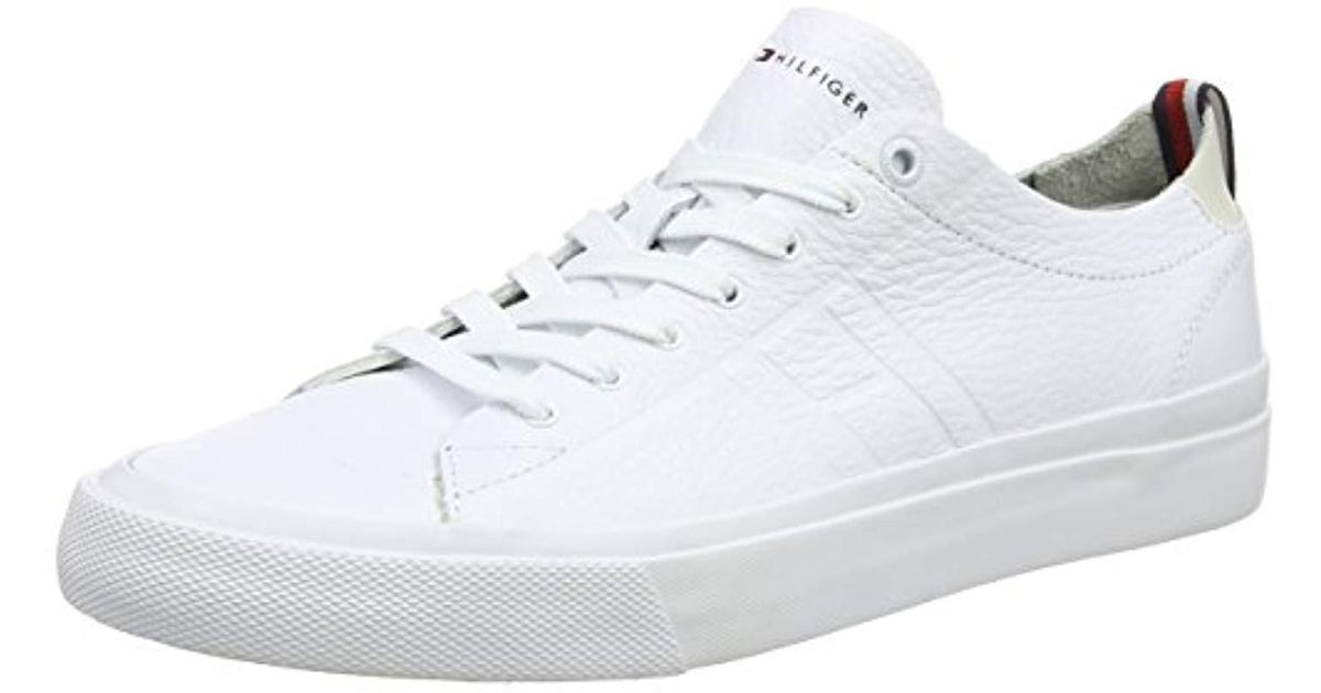 365cef249 Tommy Hilfiger Unlined Low Cut Leather Sneaker Top in White for Men - Lyst