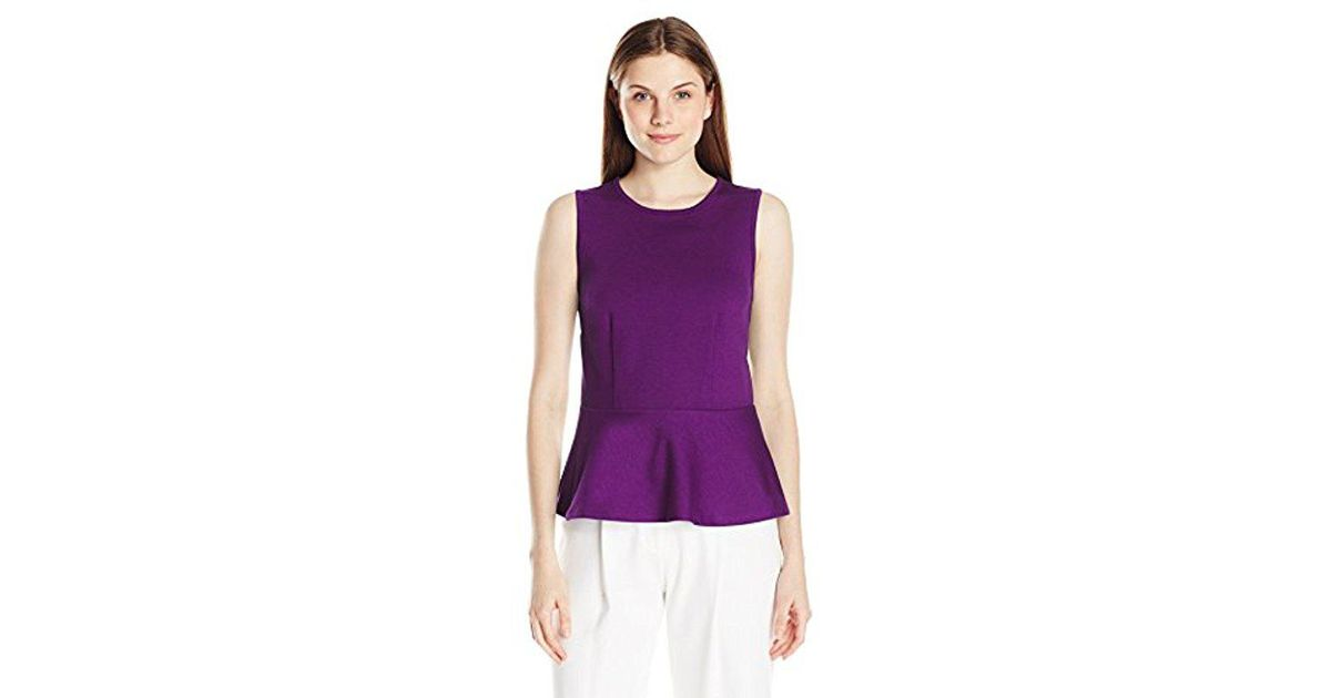 cb4215b279a851 Lyst - Lark   Ro Ponte Sleeveless Peplum Top in Purple - Save 12%