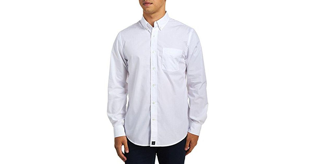 1153c2d6d93 Lyst - Dockers No Wrinkle Long Sleeve Button Front Shirt in White for Men