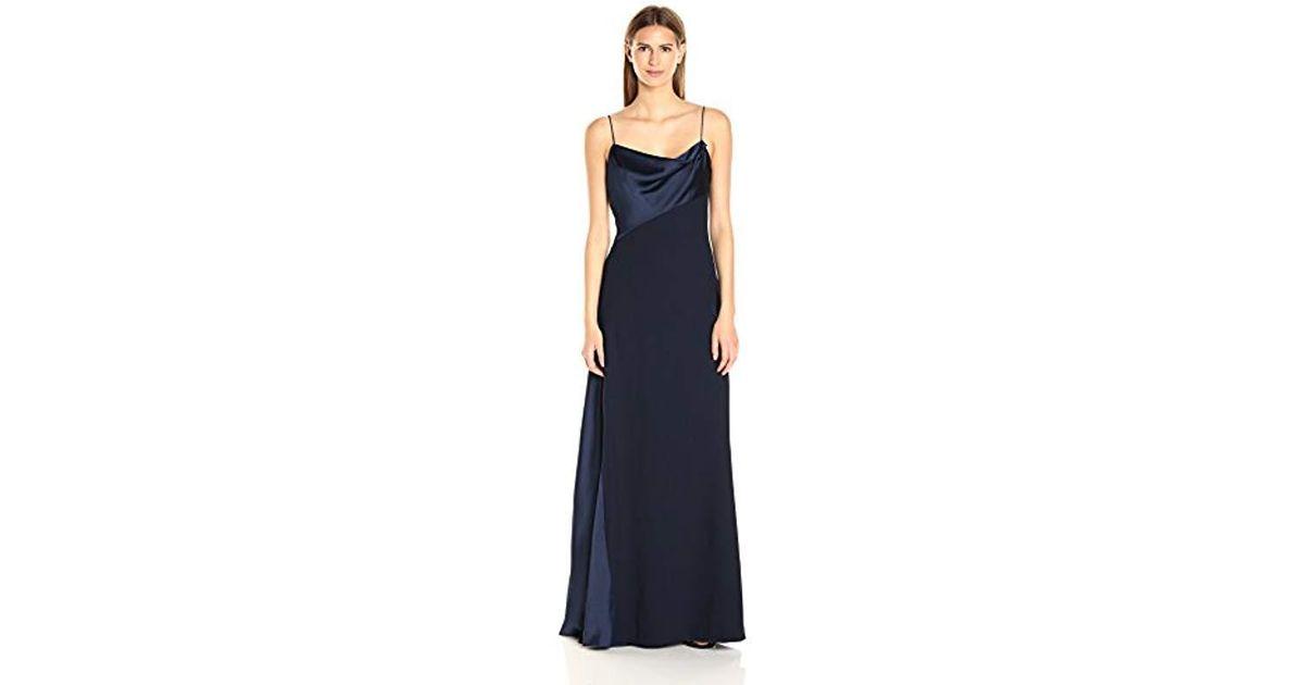Lyst Vera Wang Scuba Crepe Long Slip Dress In Blue Save