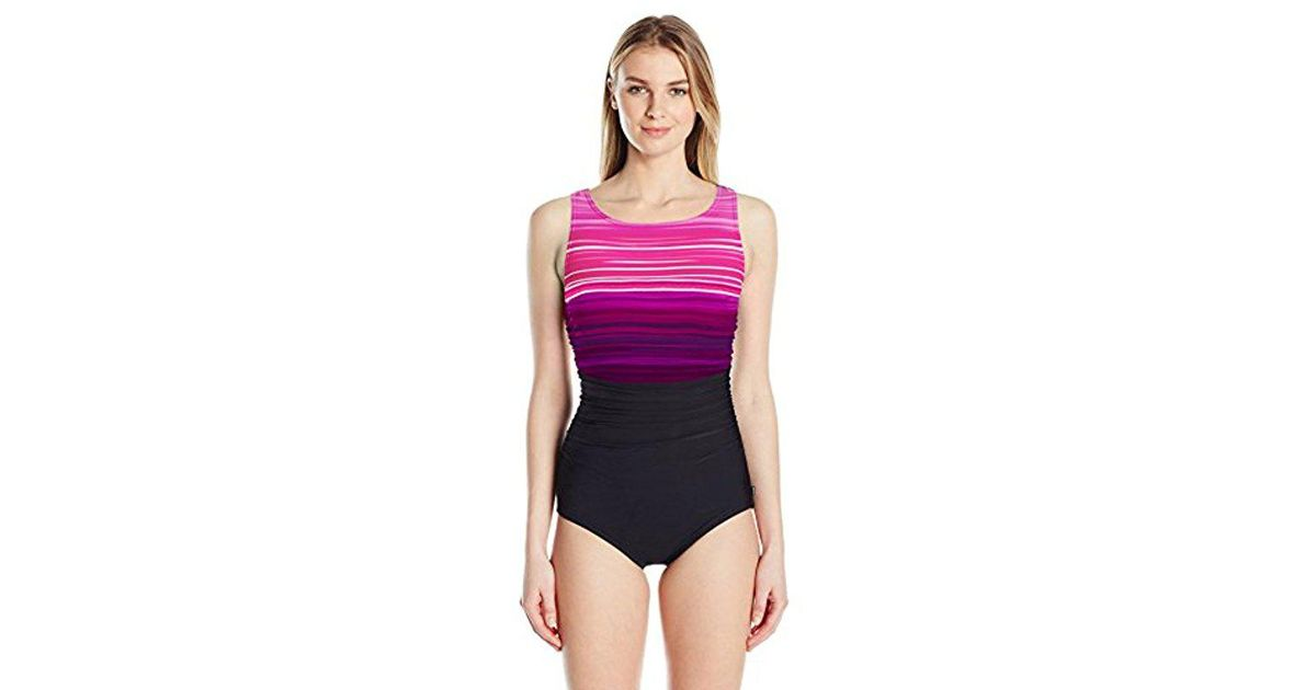 91e7d8954f1a4 Lyst - Reebok Desert Rays High Neck Constructed One Piece Swimsuit in Pink  - Save 46%