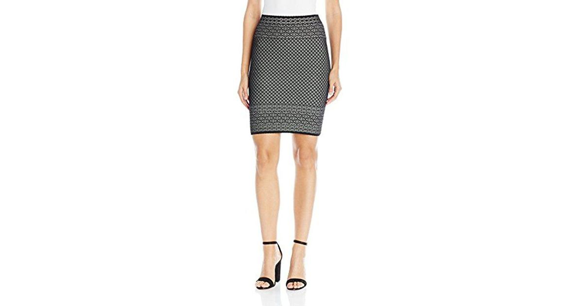 a4c19f4c9 Lyst - BCBGMAXAZRIA Pavel Lace Relief Jacquard Skirt in Black