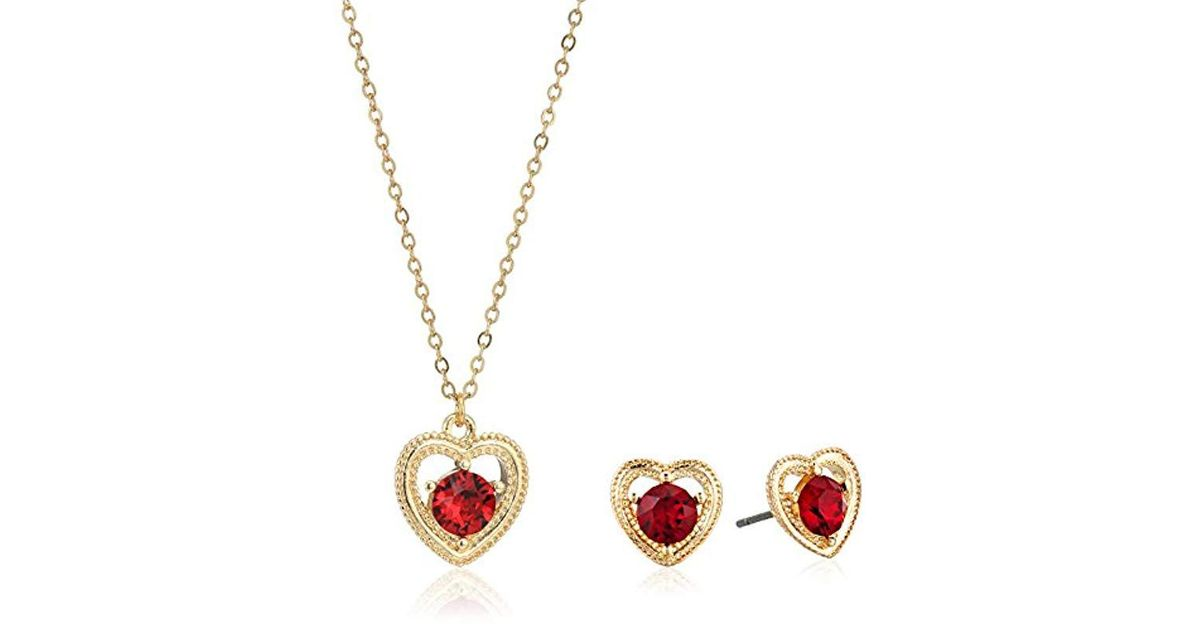 08111c41b Napier S Gold-tone Swarovski Heart Necklace Earring Jewelry Set, Red in Red  - Lyst