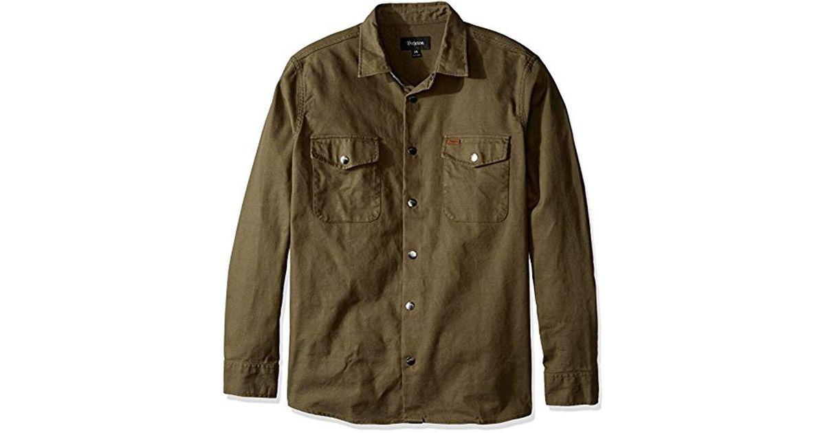 dddf41c897c Brixton Nevada Standard Fit Long Sleeve Canvas Shirt Jacket in Green for Men  - Lyst