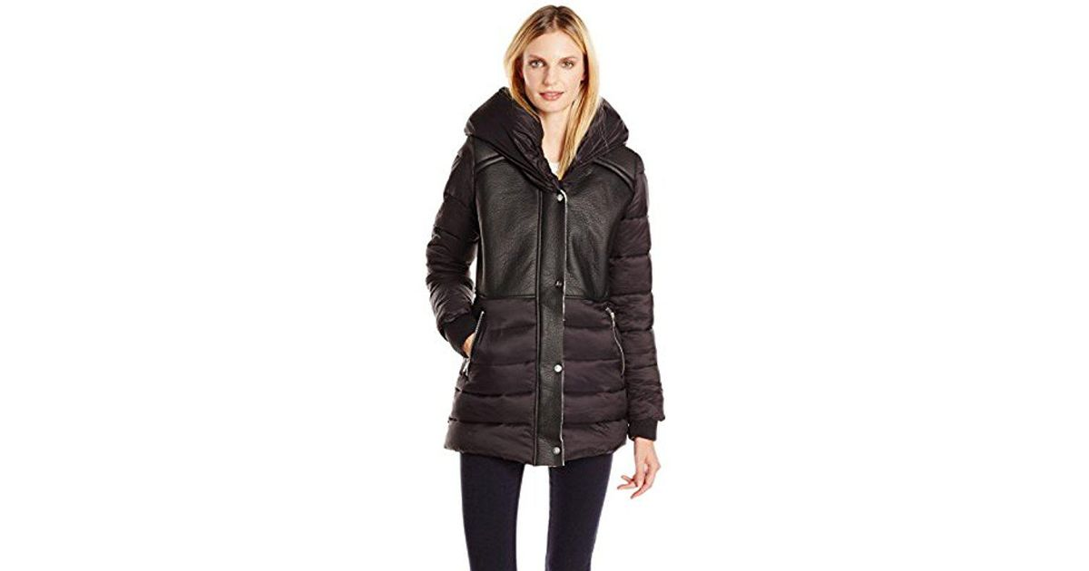 d5ff6ef6233e Lyst - Sam Edelman Brooklyn Down Coat With Faux Shearling Lining And Hood  in Black