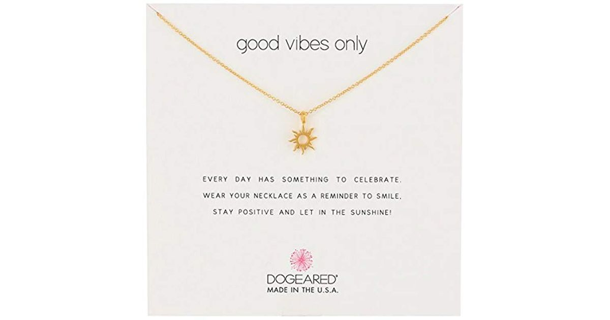 8f5a707dba477a Dogeared Good Vibes Only Sun Pendant Necklace, 16