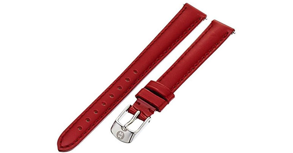 a24e5c1b9 Michele Ms12aa050602 12mm Patent Leather Red Watch Strap in Red - Lyst