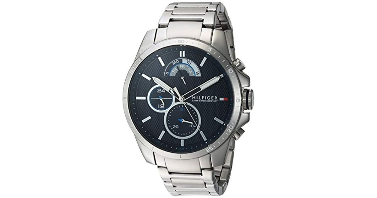 cc0c5d62 Tommy Hilfiger Cool Sport Quartz Watch With Stainless-steel Strap, Silver,  21 (model: 1791348 in Blue for Men - Lyst