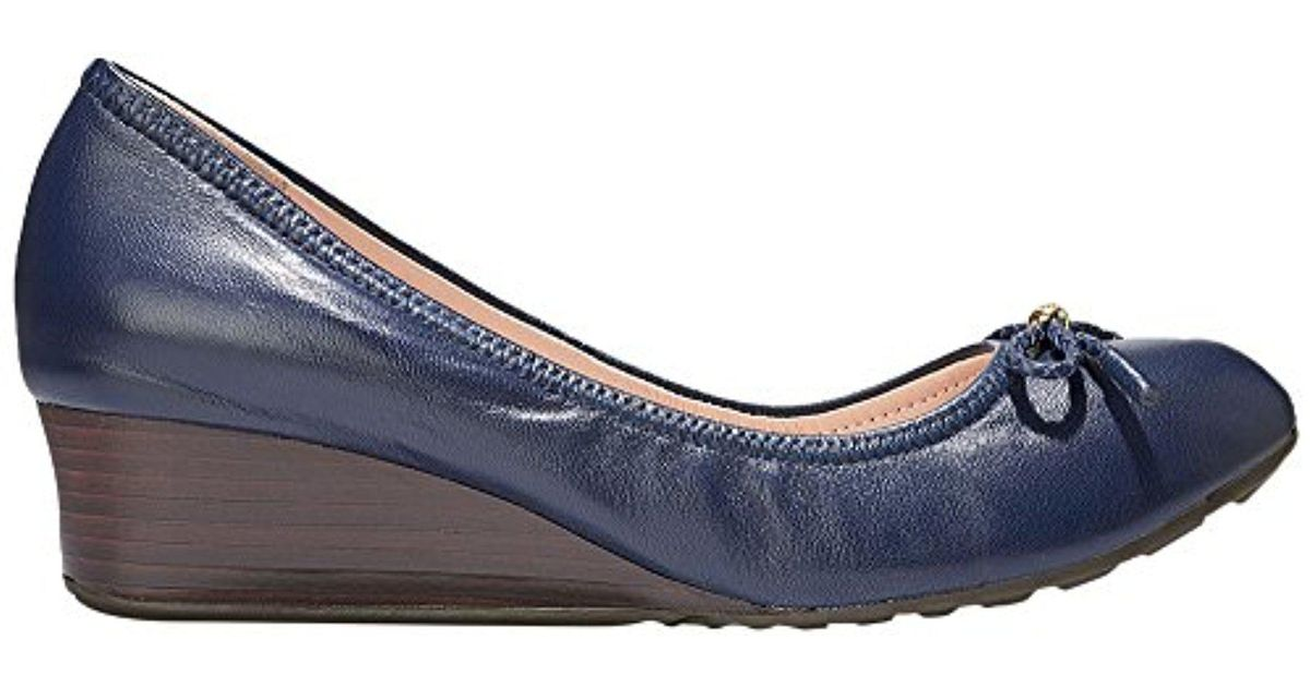37dd5c24f202 Lyst - Cole Haan Tali Grand Lace Wedge 40 Pump in Blue