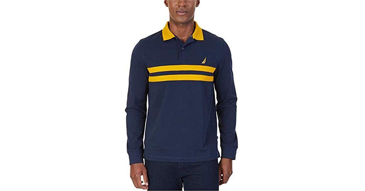 9e1cebdb Lyst - Nautica Heritage Logo Long Sleeve Polo Shirt in Blue for Men