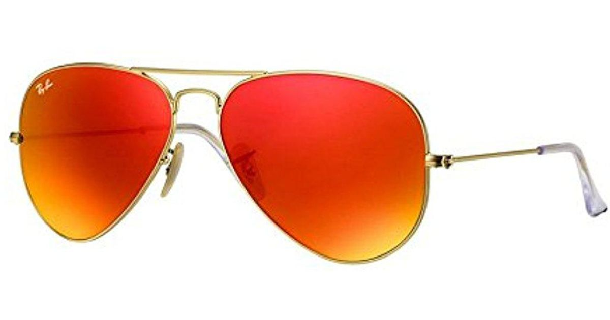 Lyst - Ray-Ban Aviator Large Metal - Matte Gold Frame Crystal Brown Mirror  Orange Lenses 55mm Non-polarized in Orange for Men ce25785d84ed