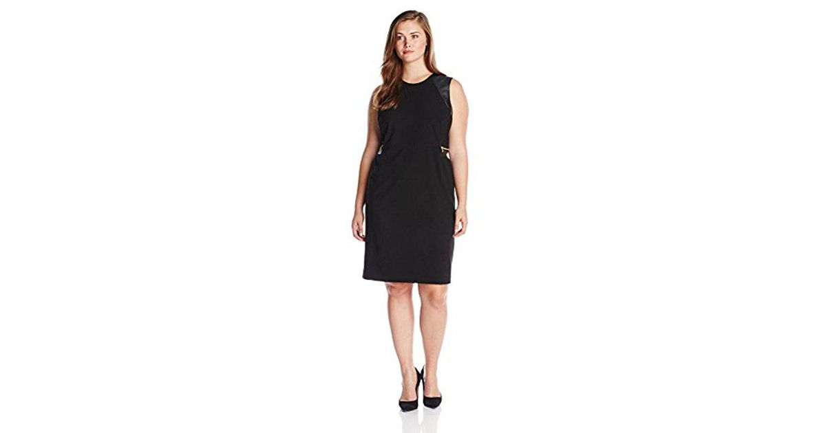 Calvin Klein Black Plus Size Dress With Gold Zips