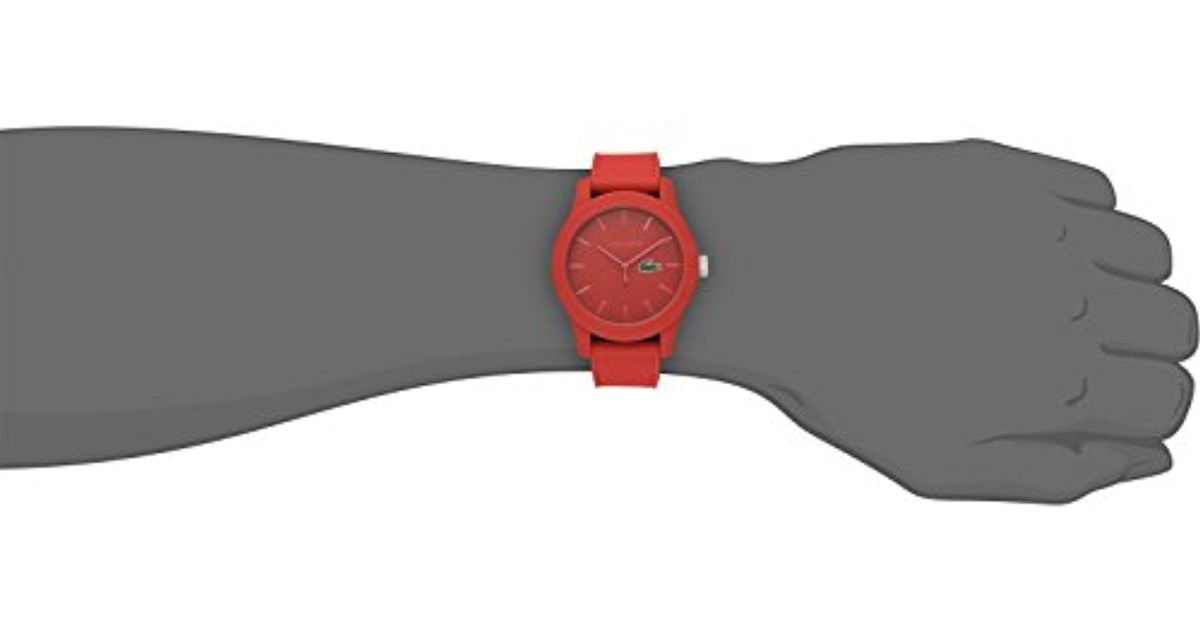 Lyst - Lacoste 2010764 .12.12 Red Watch With Textured Band in Red for Men