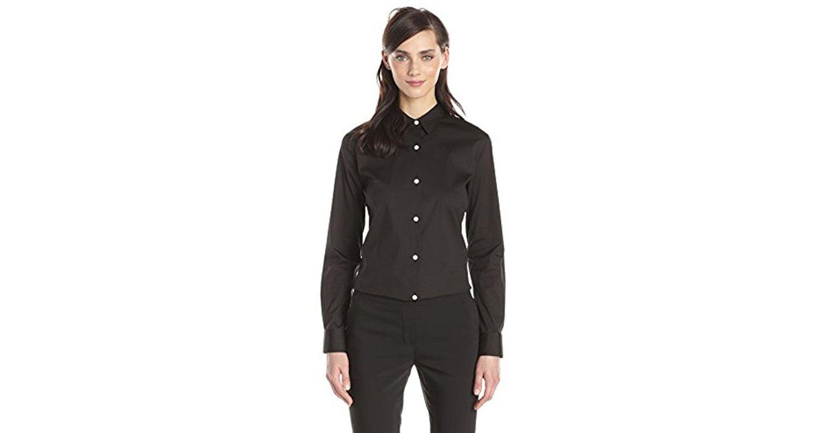 bfb389d0d57 Theory Tenia Luxe Cotton Button Down Shirt in Black - Lyst