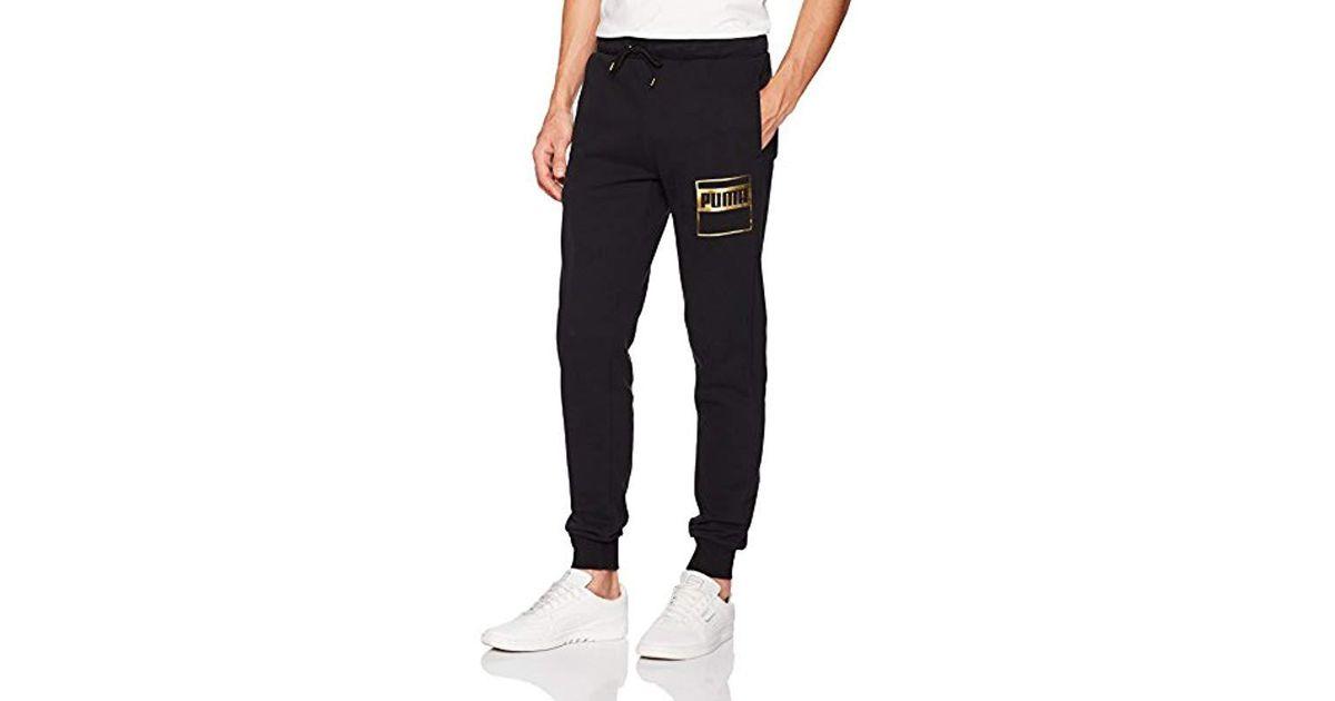 d63f0f047256 ... Lyst - Puma Rebel Gold Sweat Pant Fleece in Black for Men ...