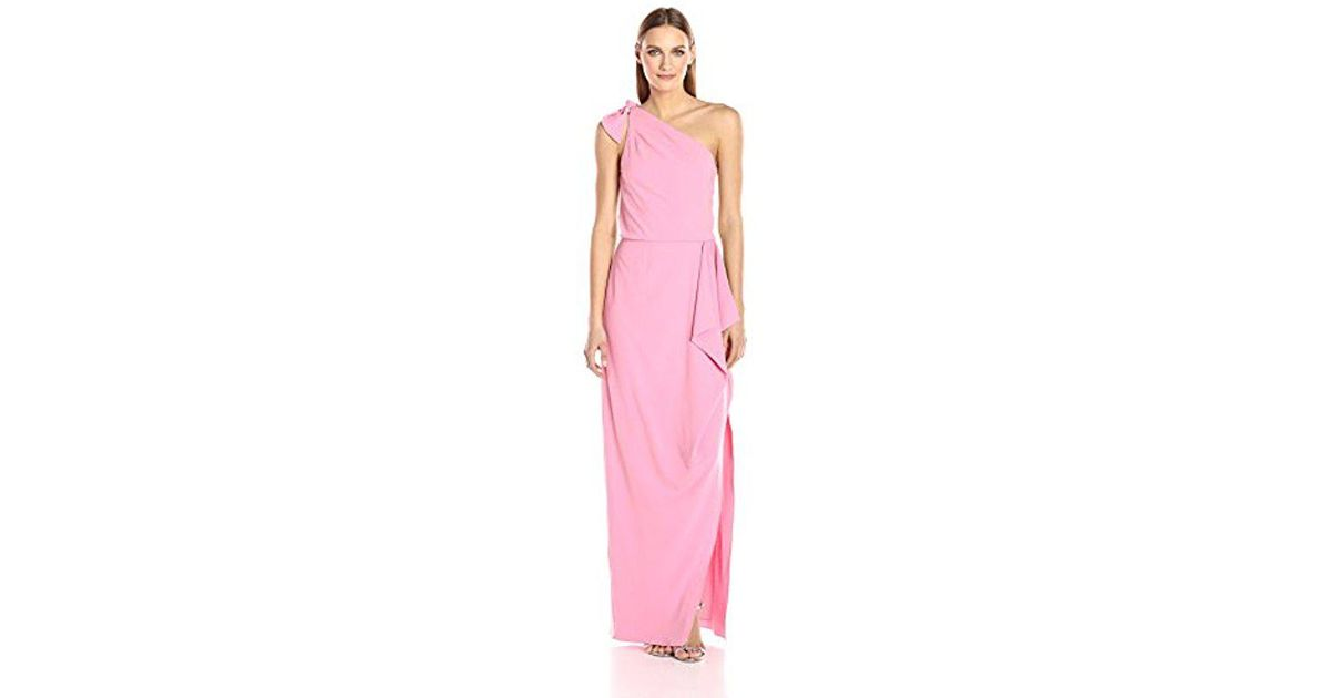 aaddcf984d4d Halston One Shoulder Crepe Gown With Flounce Drape in Pink - Save 27% - Lyst