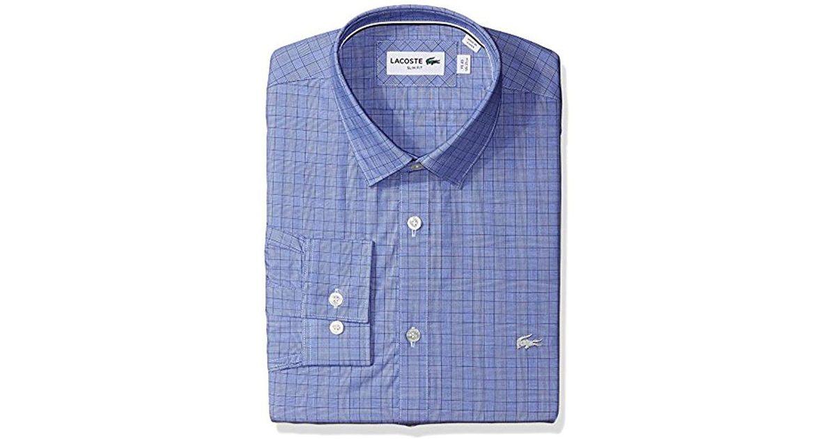 4d71530f8850d6 Lyst - Lacoste Long Sleeve Spread Collar Glen Plaid Poplin Slim Fit in Blue  for Men - Save 62%