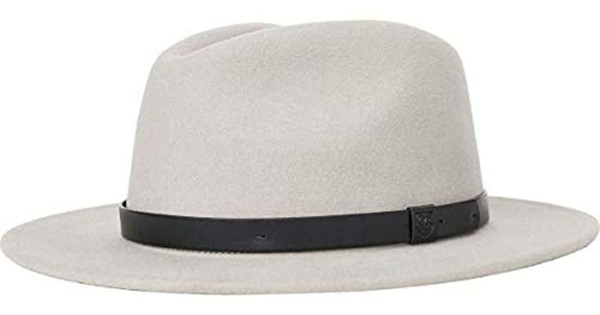 d8e28596b70ca9 Lyst - Brixton Messer Medium Brim Felt Fedora Hat in Gray for Men