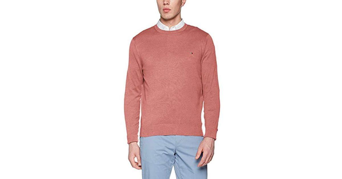 78edcdcdcff57b Tommy Hilfiger  s Cotton Silk Cneck Jumper in Pink for Men - Save 44% - Lyst