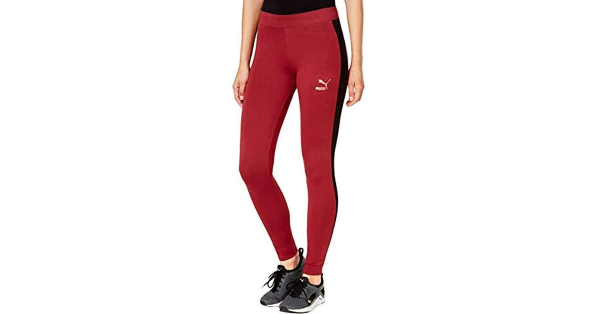 e7567a517f2e2 Lyst - PUMA Archive Logo T7 Leggings in Red