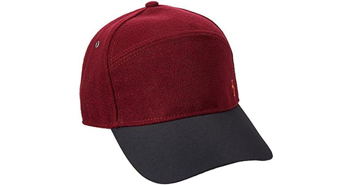 Lyst - Original Penguin Melton Wool Baseball Cap in Red for Men d99e2b71bd56