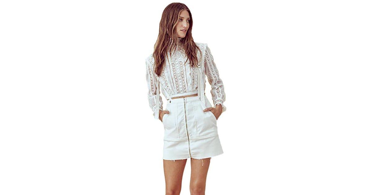 64494a296b Lyst - For Love   Lemons Monika Overalls Mini Skirt In White Denim in White