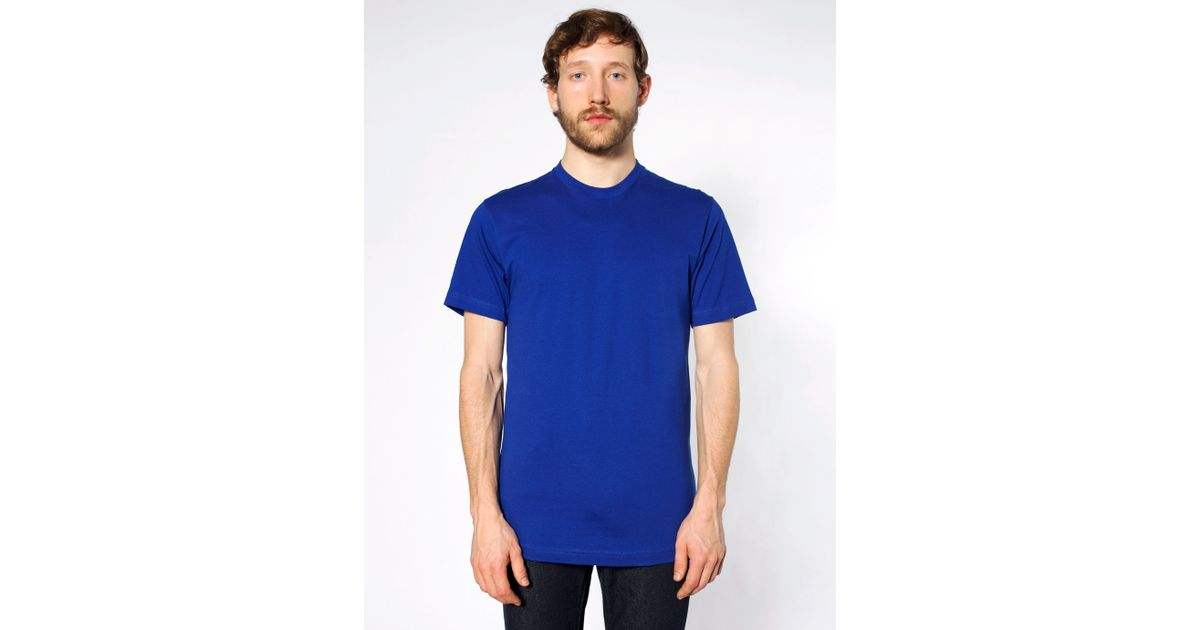 American Apparel Fine Jersey Crewneck T Shirt In Blue For