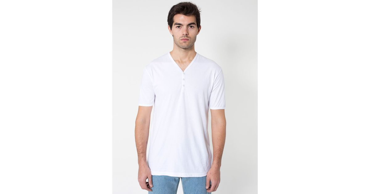 American Apparel Fine Jersey Henley V Neck T Shirt In