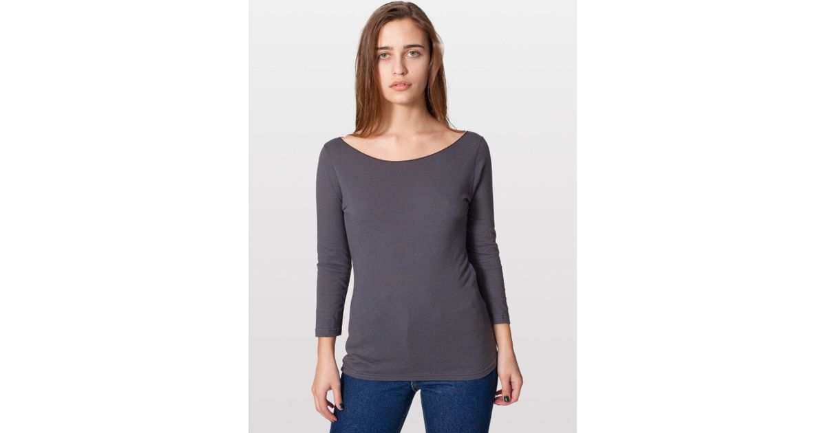 American apparel sheer jersey 3 4 sleeve boat neck in gray for American apparel mesh shirt