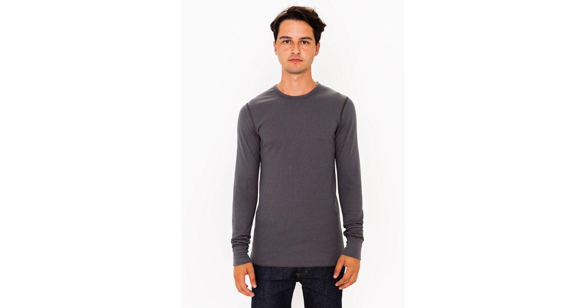 American apparel baby thermal crewneck long sleeve t shirt for Mens black thermal t shirts