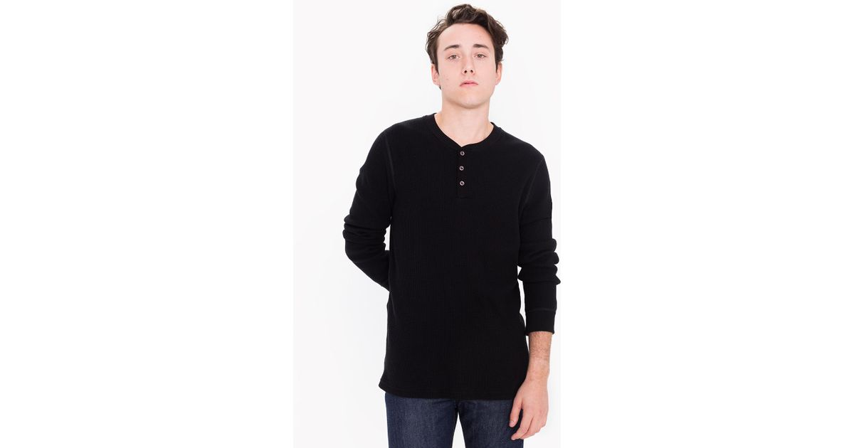 American apparel waffle thermal henley long sleeve t shirt for Men s thermal henley long sleeve shirts