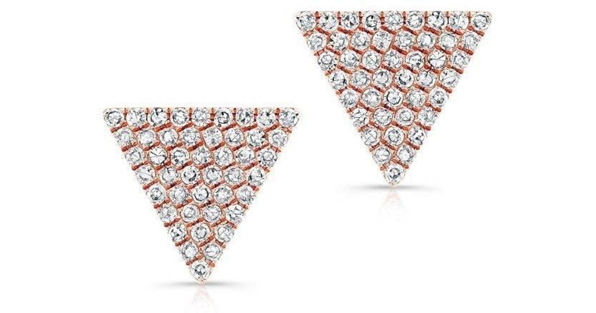 8ccdef384 Lyst - Anne Sisteron 14kt Rose Gold Large Diamond Triangle Olivia Stud  Earrings in Metallic