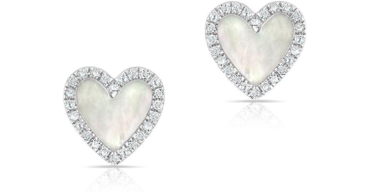 df06ac9961e Anne Sisteron - Metallic 14kt White Gold Diamond Mother Of Pearl Marais  Heart Stud Earrings - Lyst