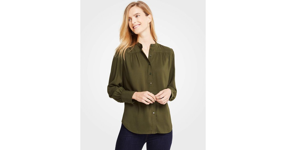 b8f9ba265 Lyst - Ann Taylor Shirred Button Down Blouse in Green