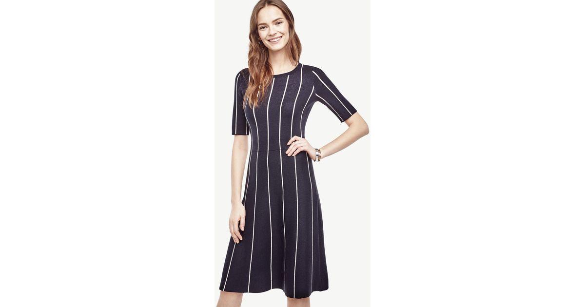 990d0dea1e9 Ann Taylor Pinstripe Flare Sweater Dress in Blue - Lyst