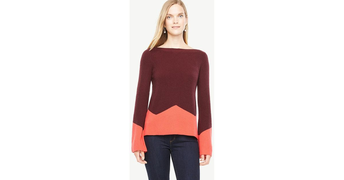 c3ac658d6b Lyst - Ann Taylor Colorblock Fluted Sleeve Boatneck Sweater in Red