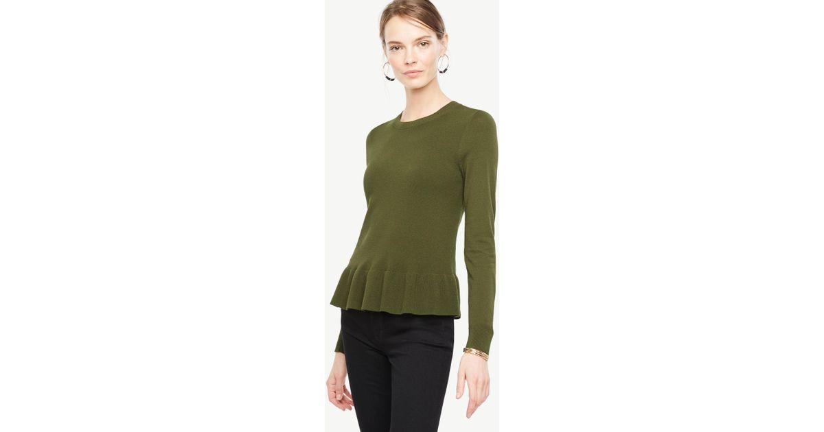 Ann taylor Ruffle Hem Sweater in Green | Lyst