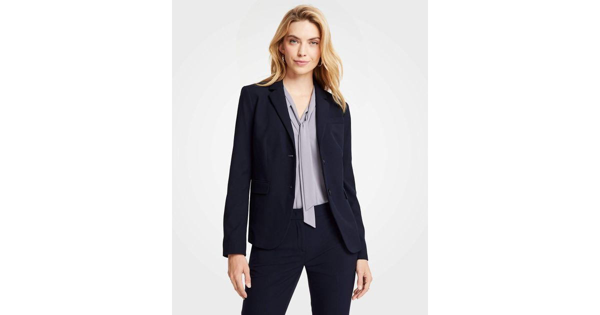 ca862e2db Ann Taylor Petite Seasonless Stretch Two Button Perfect Blazer in Blue -  Lyst