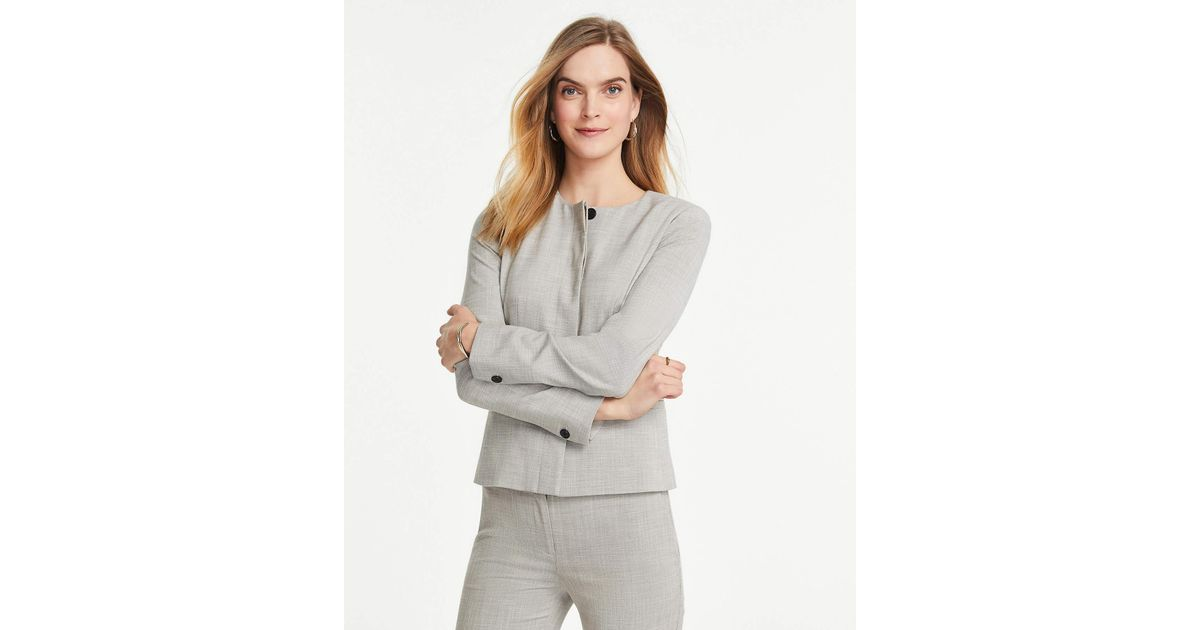 8511b6f79 Ann Taylor The Petite Crewneck Jacket In Crosshatch in Gray - Lyst