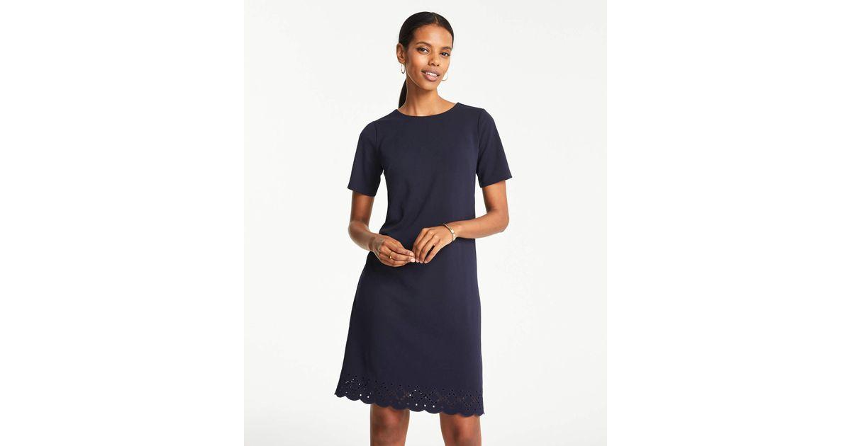 226b441724097 Lyst - Ann Taylor Eyelet Hem T-shirt Shift Dress in Blue