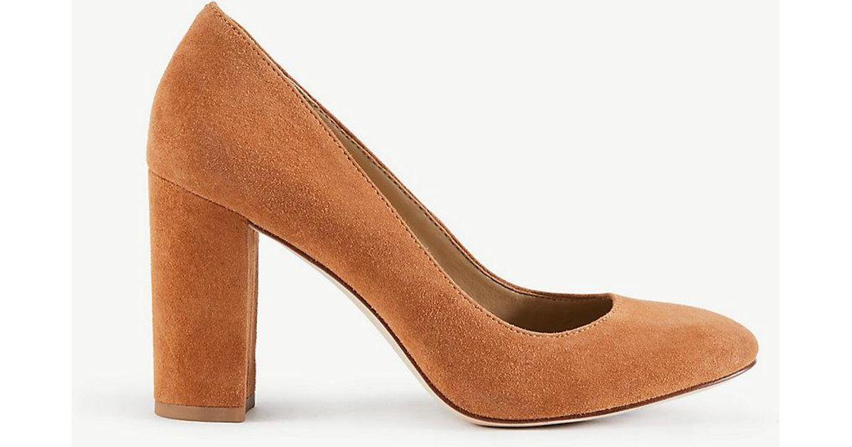 e18048be966 Lyst - Ann Taylor Emeline Suede Block Heel Pumps in Brown