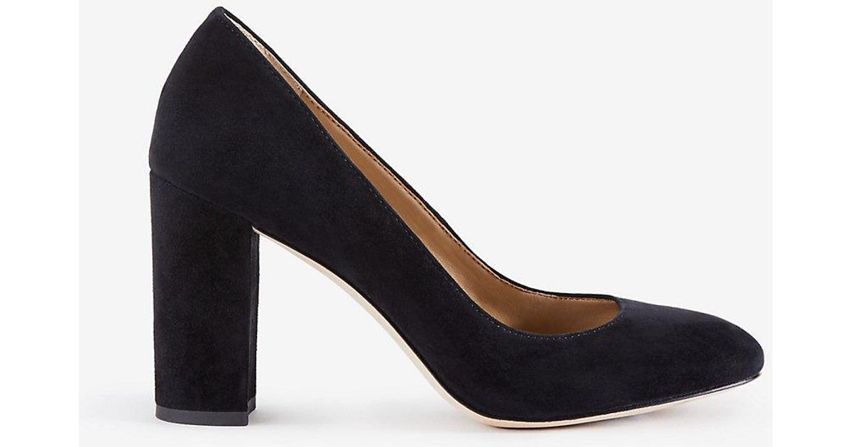 62a61499ee2 Ann Taylor Emeline Suede Block Heel Pumps in Black - Lyst