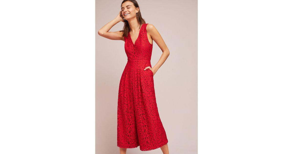 1cc6f93b9b54 Moulinette Soeurs Jaeda Lace Wide Leg Jumpsuit in Red - Lyst